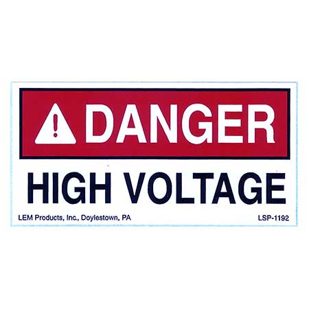 Danger High Voltage Stick On Warning Sign