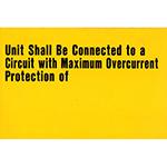 Maximum Overcurrent Protection Warning Sticker
